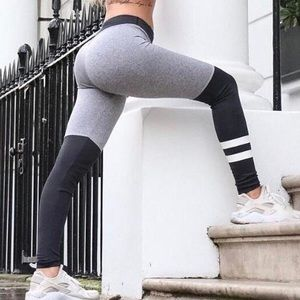 Pants - Black Striped High Waist Stretch Leggings